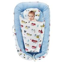Oenbopo Baby Lounger Minky Cover Baby Bassinet Portable Sleeping Baby Bed with Pillow and Quilt for Cuddling, Lounging, Co Sleeping, Napping and Travel (Blue)