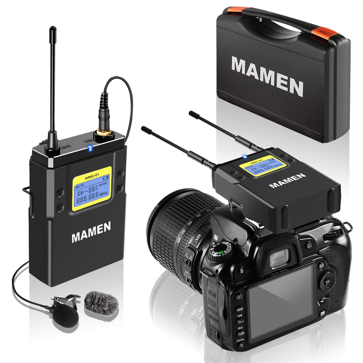 MAMEN 50-Channel UHF Wireless Lavalier Microphone System with 1 Receiver, 1 Transmitters, Dual Wireless Lapel Mics for iPhone DSLR Cameras (330' ft Audio Range)