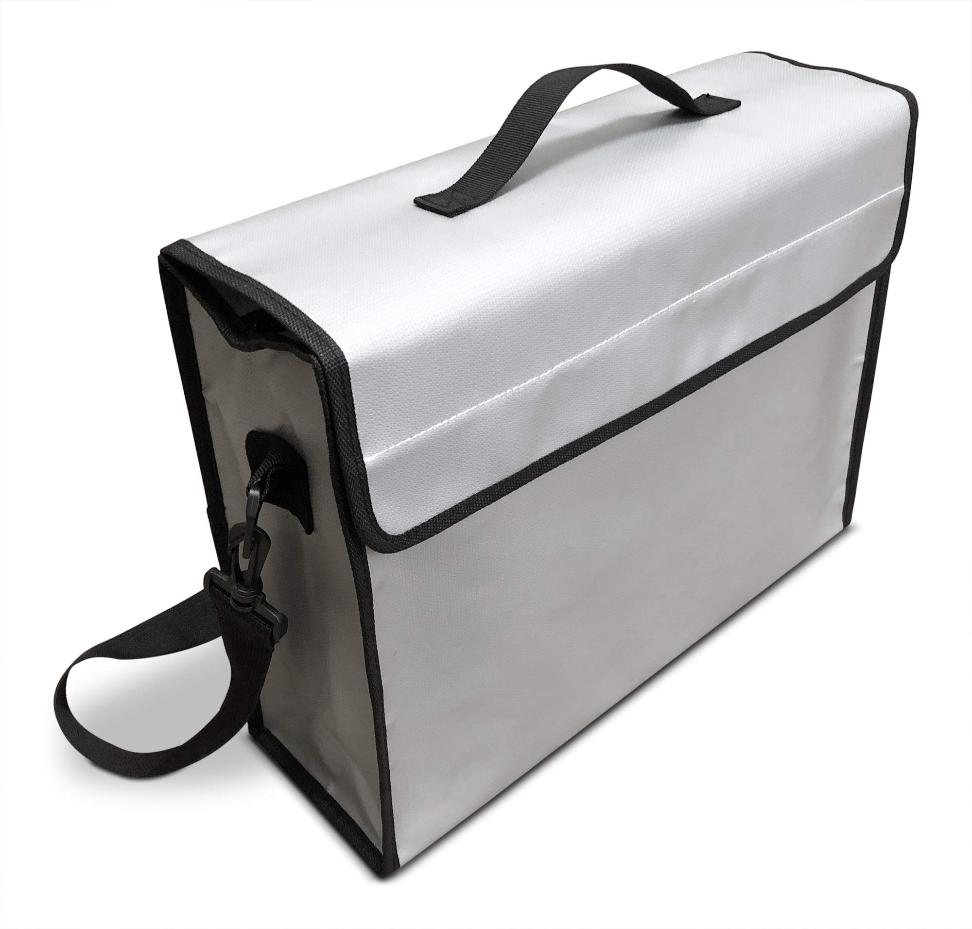 """Large (15""""x12""""x5"""" Inch) Fireproof Bag 2000°F for Documents and Money by SlayMonday - Non Itchy, Strong Double Layer Heat Protection - XL Fire and Water Resistant Case to Protect Jewelry, Cash, Files"""