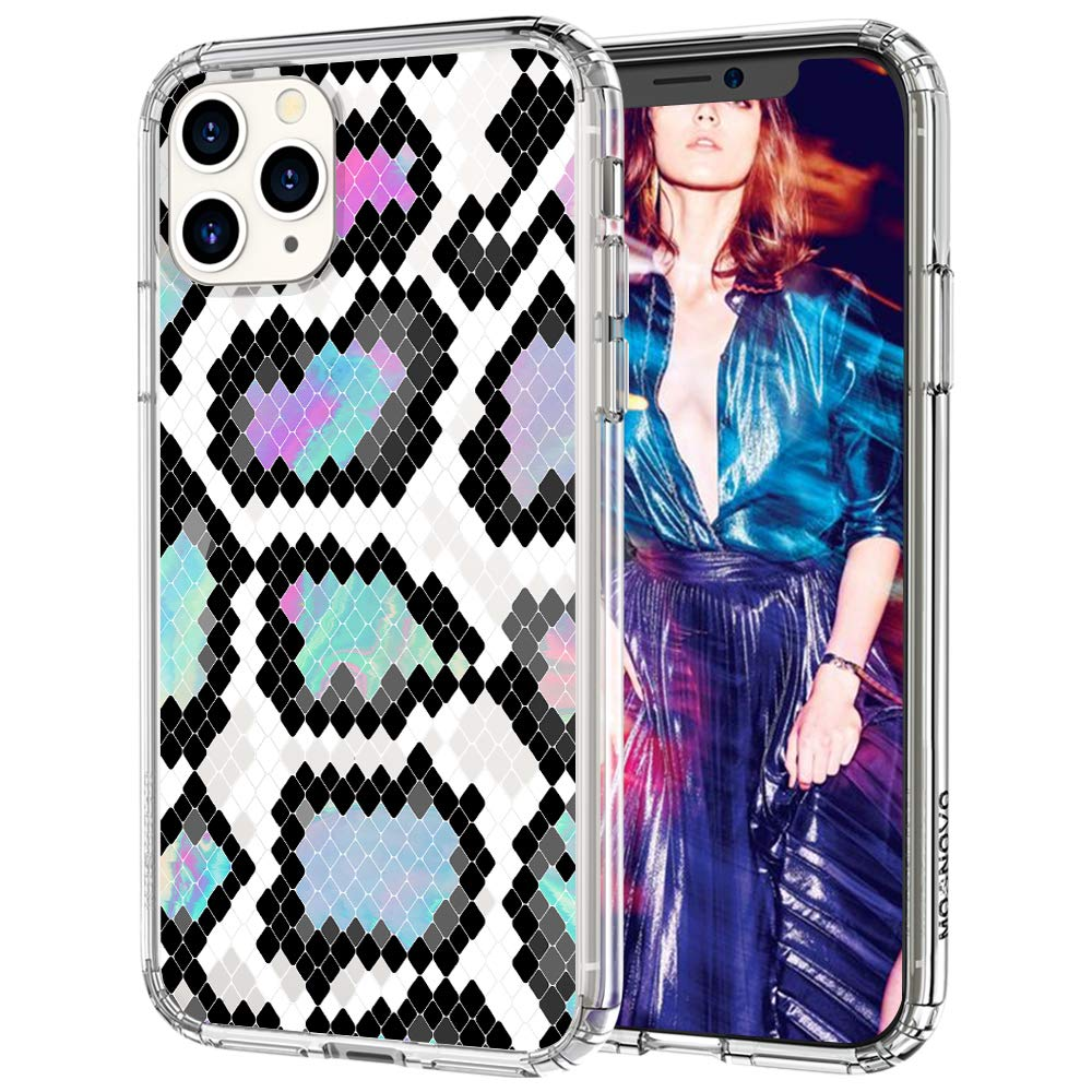 MOSNOVO iPhone 11 Pro Case, Aurora Snake Print Pattern Clear Design Transparent Plastic Hard Back Case with TPU Bumper Protective Case Cover for iPhone 11 Pro