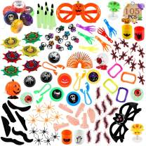 FUNNISM 105 Pieces Halloween Toys Assortment Halloween Party Favor, School Classroom Rewards, Trick Treating, Halloween Miniatures, Halloween Prizes