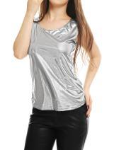 Allegra K Women's U Neck Stretchy Slim Fit Shiny Sparkly Metallic Tank Top