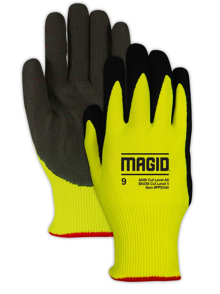 Magid Glove & Safety PPD54012 PPD540 Nitrix Coated Padded Palm Work Glove – Cut Level A6, Black, Size 12, HPPE
