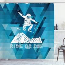 """Ambesonne Adventure Shower Curtain, Ride or Die Sketch Letters Abstract Fractal Backdrop with Snowboarding Man, Cloth Fabric Bathroom Decor Set with Hooks, 75"""" Long, Purple White"""