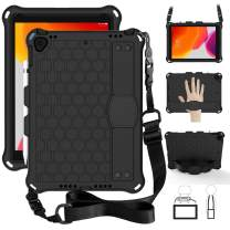 TabPow Kids Case for iPad 10.2 7th Generation, iPad Air 3 (2019) and iPad Pro 10.5'' (2017), Kidsproof Tablet Cover with Shoulder Strap and Stand, Hand Grip, Pencil Holder - Black