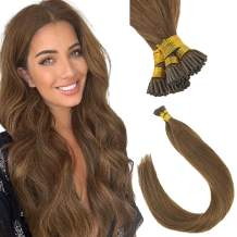 Sunny 18Inch 100% Real Remy Straight I Tip Extensions #6 Light Brown Pre-Ponded Cold Fusion Extensions Human Hair Professional Salon Hair Style 1g/Strand 50g/pack