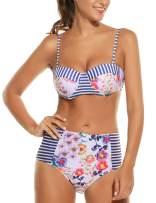 Avidlove Women Retro Floral High Waisted Bikini Two Piece Swimsuit
