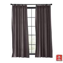 TWOPAGES Blackout Thermal Insulated Curtain Indoor Fireproof Flame Retardant Curtain Pinch Pleat Window Drape (Chocolate, 1 Panel, 50 Inches Wide by 72 Inches Long)