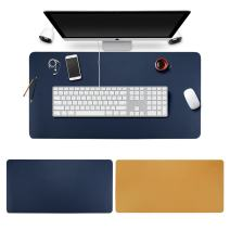 Desk Pad Mouse Pad/Mat - BUBM Large Gaming Mouse Pad Desktop Pad Protector PU Leather Laptop pad for Office and Home,Waterproof and Smooth,2 Year Warranty (Blue-Yellow, L)