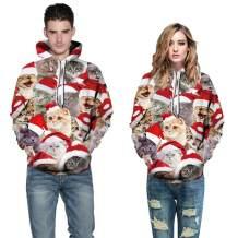 ANEMEL Unisex Ugly Christmas Halloween Hooded Sweatshirt Novelty 3D Graphic Long Sleeve Hoodies Sweater Shirt