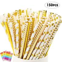 LoveS 150pcs Gold Paper Drinking Straws Biodegradable Straws for Birthday, Wedding, Bridal/Baby Shower Decorations, Party Supplies and Holiday Celebrations
