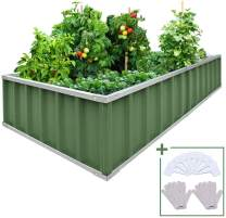 "KING BIRD Extra-Thick 2-Ply Reinforced Card Frame Raised Garden Bed Galvanized Steel Metal Planter Kit Box Green 68""x 36""x 12"" with 8pcs T-Types Tag & 2 Pairs of Gloves (Jade-Green)"