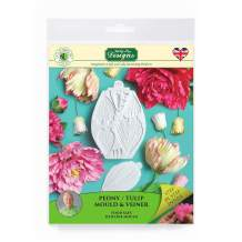 Peony/Tulip Sugarpaste Silicone Mold, Flower Pro by Nicholas Lodge for Cake Decorating, Crafts, Cupcakes, Sugarcraft, Candies, Chocolate, Card Making and Clay, Food Safe Approved, Made in the UK