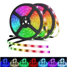 LED Strip Lights 32.8ft Waterproof RGB 5050 Flexible LED Tape Lights Color Changing 300LEDs Light Strips Kit with 44 Keys IR Remote Controller and 12V Power Supply for Home Indoor Outdoor (32.8FT)