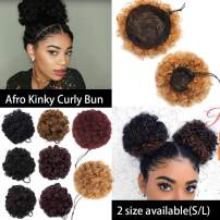 S-noilite Afro Bun Extension Puff Ponytail Chignon Hairpiece With Drawstring Afro Kinky Curly Wrap Messy Updo Synthetic For Black Women(6inch 1pcs,coffee brown)