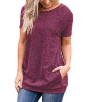 Mansy Womens Comfy Casual Short Sleeve Plain T Shirts Tops Blouse with Pockets
