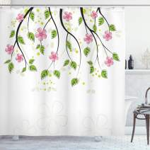 """Ambesonne Floral Shower Curtain, Branch with Flowers Leaves Cartoon Illustration Happy Childhood Summer Nature Art, Cloth Fabric Bathroom Decor Set with Hooks, 70"""" Long, Pink Green"""