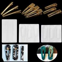 FineInno 3Pcs Barrette Resin Molds DIY Hair Pin Casting Mold,Hair Clip Mold Strip Silicone Molds Jewelry Molds for Epoxy Resin Hair Pin,Keychain, Bookmark, Pendant (Hair Clip Mold)