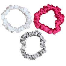 Celestial Silk Mulberry Silk Scrunchies for Hair (Small, Hot Pink, Silver, White)