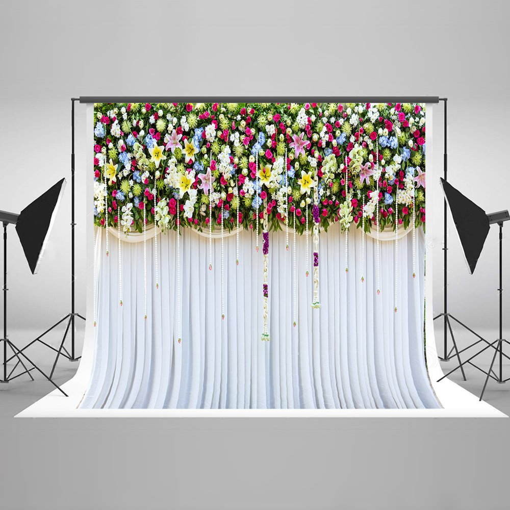 10ft(W) x10ft(H) Curtain Backdrop Wedding Bridal Shower Photo Background Birthday Photo Booth Props for Photography Cotton Cloth Seamless Cotton Cloth