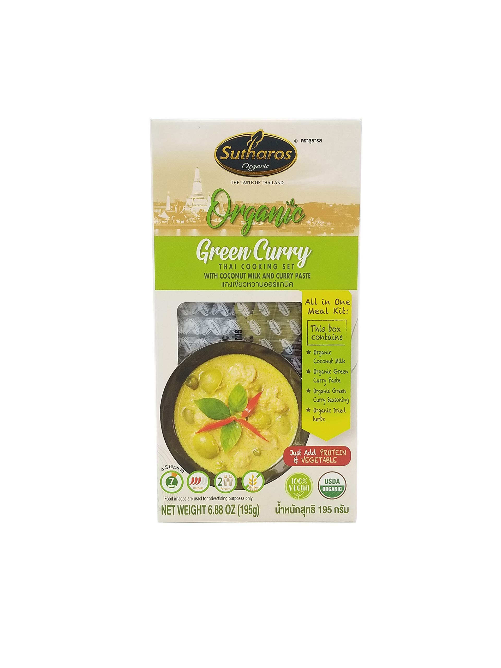 Sutharos Organic Thai Green Curry Meal Kit (3 Pack), 100% Vegan, Gluten-Free, Comes With Curry Paste, Coconut Milk, Herbs, and Spices