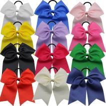 """QtGirl 12 Pcs 7"""" Baby Girls Large Cheer Hair Bows Mix Colors with Ponytail Holder Elastic Hair Ties for High School College Cheerleading"""