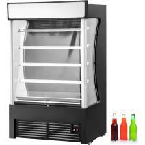 VBENLEM 17.6 cu.ft. Open Air Merchandiser, 45.6'' Commercial Movable Display Cooler Case, Stainless Steel Black Display Refrigerator,with LED Lighting,Suit for Shop Supermarket Restaurant,36.5-50℉
