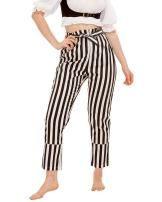 Pirate Renaissance Medieval Gothic Wench Cosplay Costume Women's Self-Tie Frill-Waist 100% Cotton Striped Pants