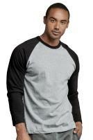 Men's Full Sleeve Casual Raglan Jersey Baseball Tee Shirt (3XL, BLK/LGR)