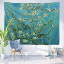 "PROCIDA Van Gogh Tapestry Wall Hanging Almond Blossom Oil Painting Nature Plant Floral Wall Art Home Decor for Dorm Bedroom Living Room, 60"" W x 40"" L, Almond Blossom"