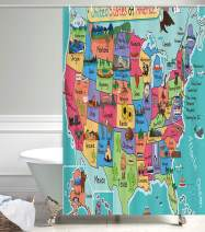NYMB Kids Map of The United States Bath Curtain, Cartoon Fun Facts Geography USA Map, Polyester Fabric Waterproof Shower Curtain for Bathroom, Shower Curtains Hooks Included, Turquoise Red (48X70in)