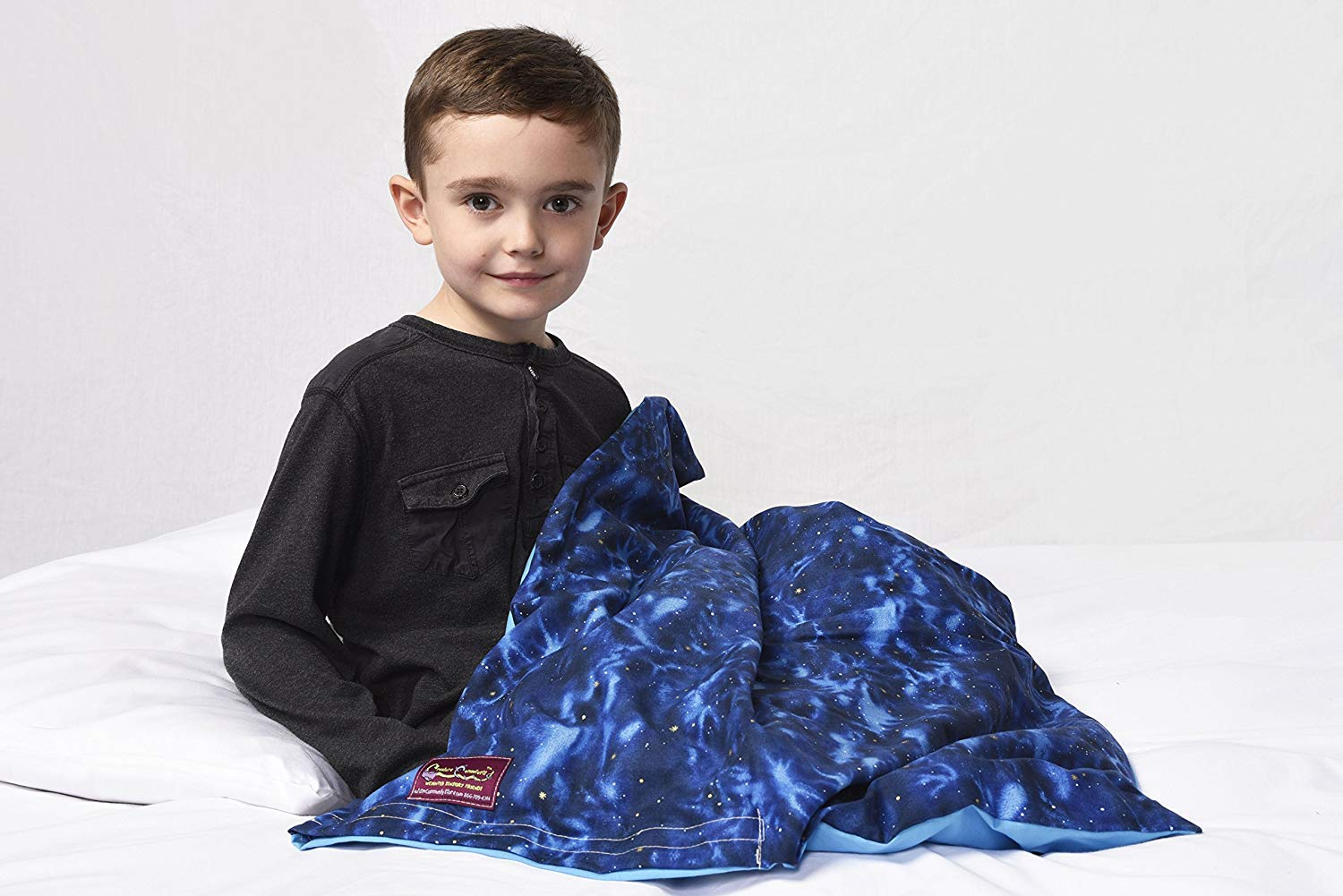 Creature Commforts Child and Toddler Weighted Blanket - Weights from 4lb - 10lb - 7 Colors to Choose from - Handmade in The USA - Safe Organic Filling with Removable Cover (Night and Day, 4lb 25x30)