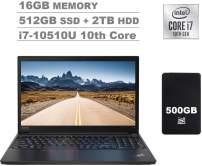 """2020 Lenovo ThinkPad E15 15.6"""" FHD Full HD (1920x1080) IPS Business Laptop (Intel Quad Core i7-10510U, 16GB DDR4 RAM, 512GB PCIe SSD + 2TB HDD) Fingerprint, Type-C, HDMI, Windows 10 Pro + IST 500GB"""