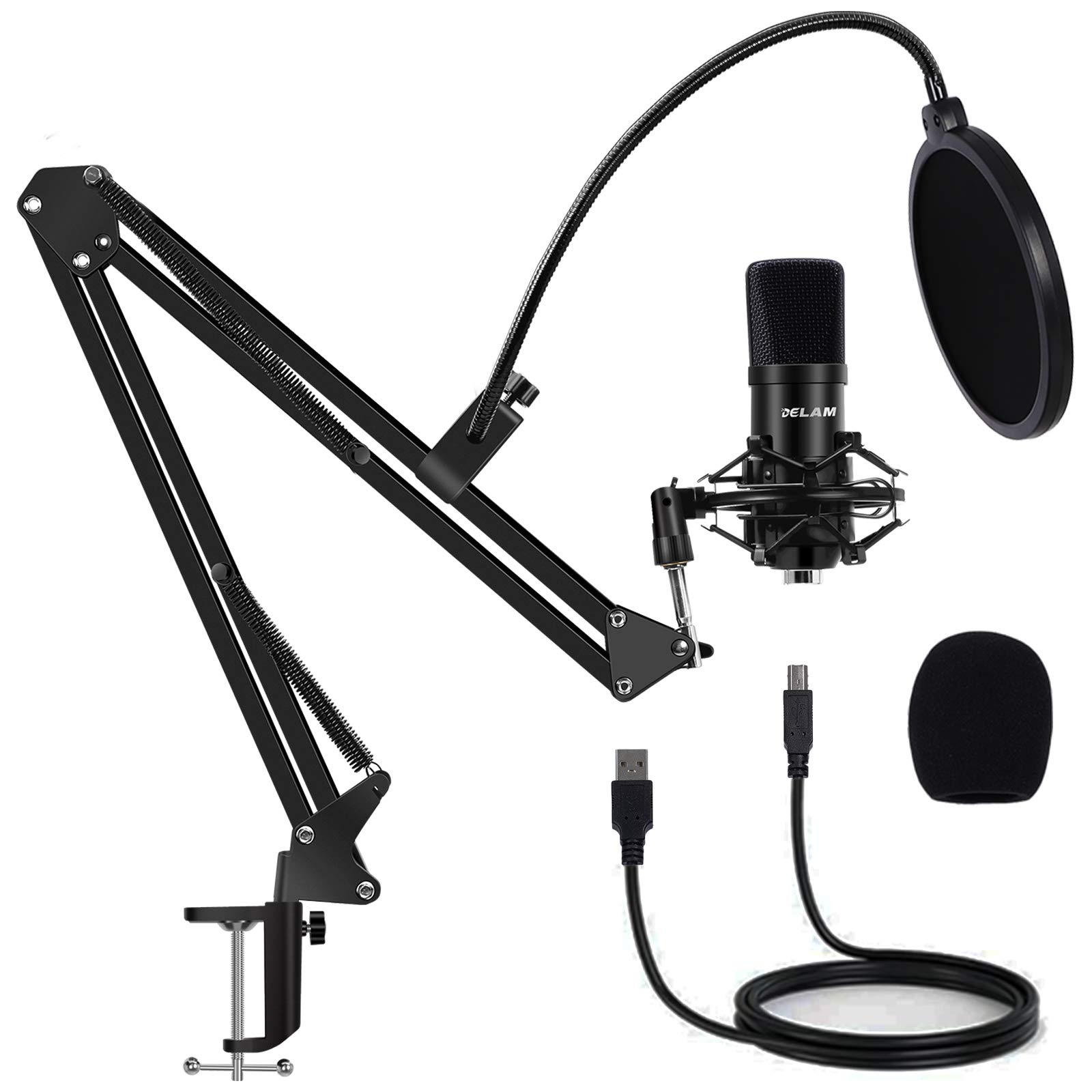 Delam USB Studio Podcast Gaming Microphone Kit, 192KHz/24BIT Plug & Play Professional Cardioid Condenser Streaming Mic with Boom Arm, Metal Shock Mount, Pop Filter for Vocal Music Recording PC Youtube