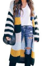 Donnalla Womens Long Cardigan Striped Colorblock Open Front Casual Kimono Knit Sweater Coats