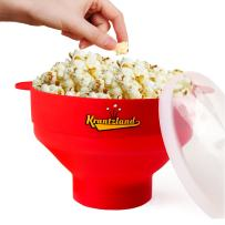 "2 IN 1 Air Popcorn Popper/ Popcorn Maker - Collapsible Bowl from a height of 5.7"" to 2.1"" - Microwave Popcorn Popper- Premium Silicone"