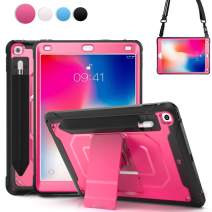 BRACN 6th Generation iPad Case 2018,9.7 iPad Kid Case,Rugged Shockproof Durable Case with Elastic Pencil Pocket,Invisible Storage Bag,Shoulder Strap,Kickstand for 5th Generation iPad Case 2017 (Rose)