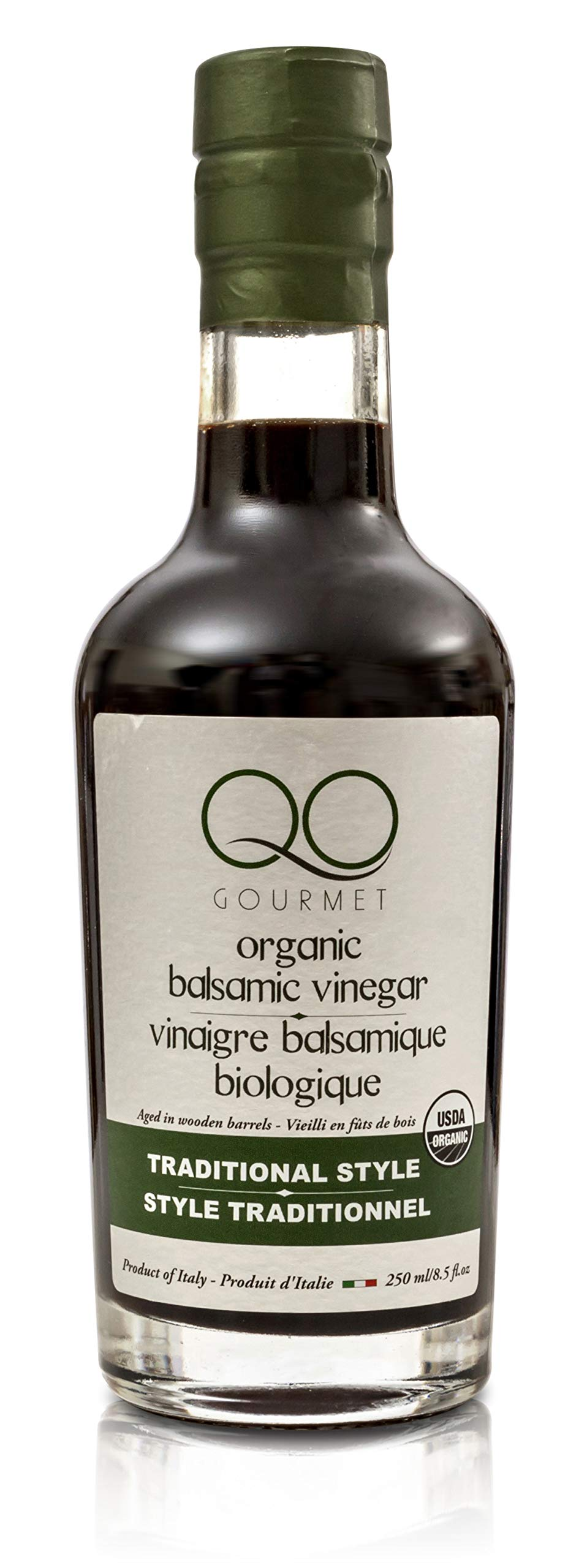 QO Organic Thick Aged Balsamic Vinegar of Modena | 4% Acidity | Gourmet Traditional Style | Dense Premium Italian Vinegar | Aceto Balsamico | Crafted and Bottled in Modena, Italy | 8.5 fl.oz