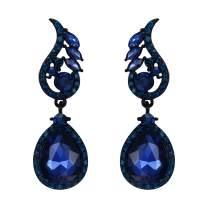 Flyonce Wedding Bridal Rhinestone Crystal Teardrop Pierced Dangle Earrings for Women