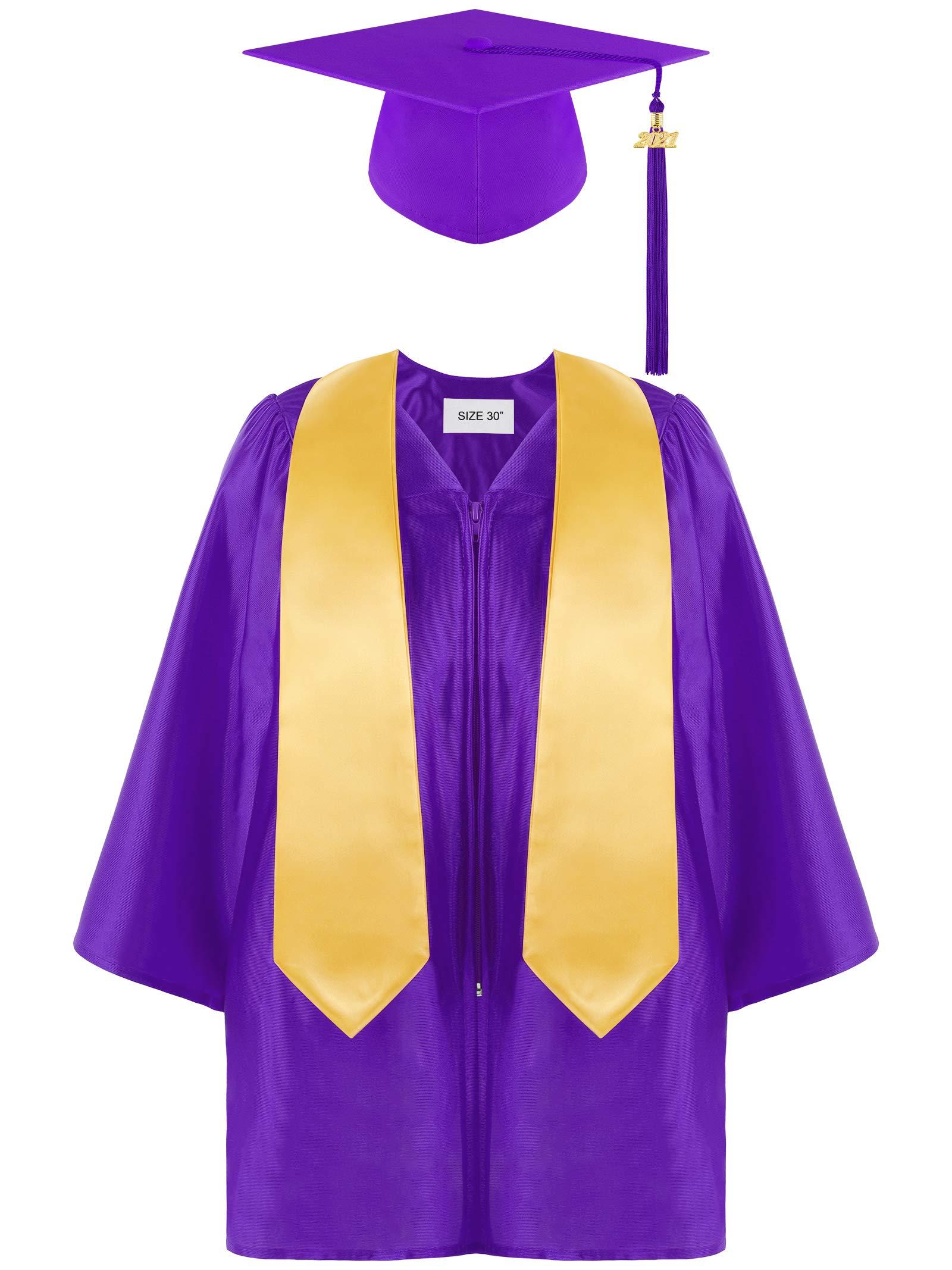Aneco Preschool Kindergarten Graduation Gown Cap Set with 2021 Tassel and Graduation Sash for Child Size
