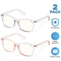 【2Pack】SIPU Blue Light Blocking Glasses for Men Women, Computer Reading Anti Eyestrain& UV400 Glare Glasses for Unisex(No Magnification)