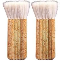 2 PCS Sheep Hair Hake Brush, Bamboo Handle Hake Blender Brush for Watercolor/Pottery/Kiln Wash/Dust Cleaning/Ceramic/Decor Painting (6 Reeds)