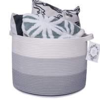 Haidms Gray XXXL Large Cotton Rope Basket 20''13'' Woven Blanket Basket,Cotton Storage Basket,Round Laundry Basket,Decorative Basket for Toy Storage,Hamper,Clothes,Diapers,Blankets&Kids Nursery