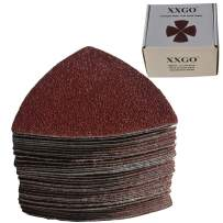 XXGO Triangular Oscillating Multi Tool Sanding Pads 3-1/8 Inch 80mm Assorted Grit 60/80/100/120/240 Grits Pack of 55 Pcs No.XG5501