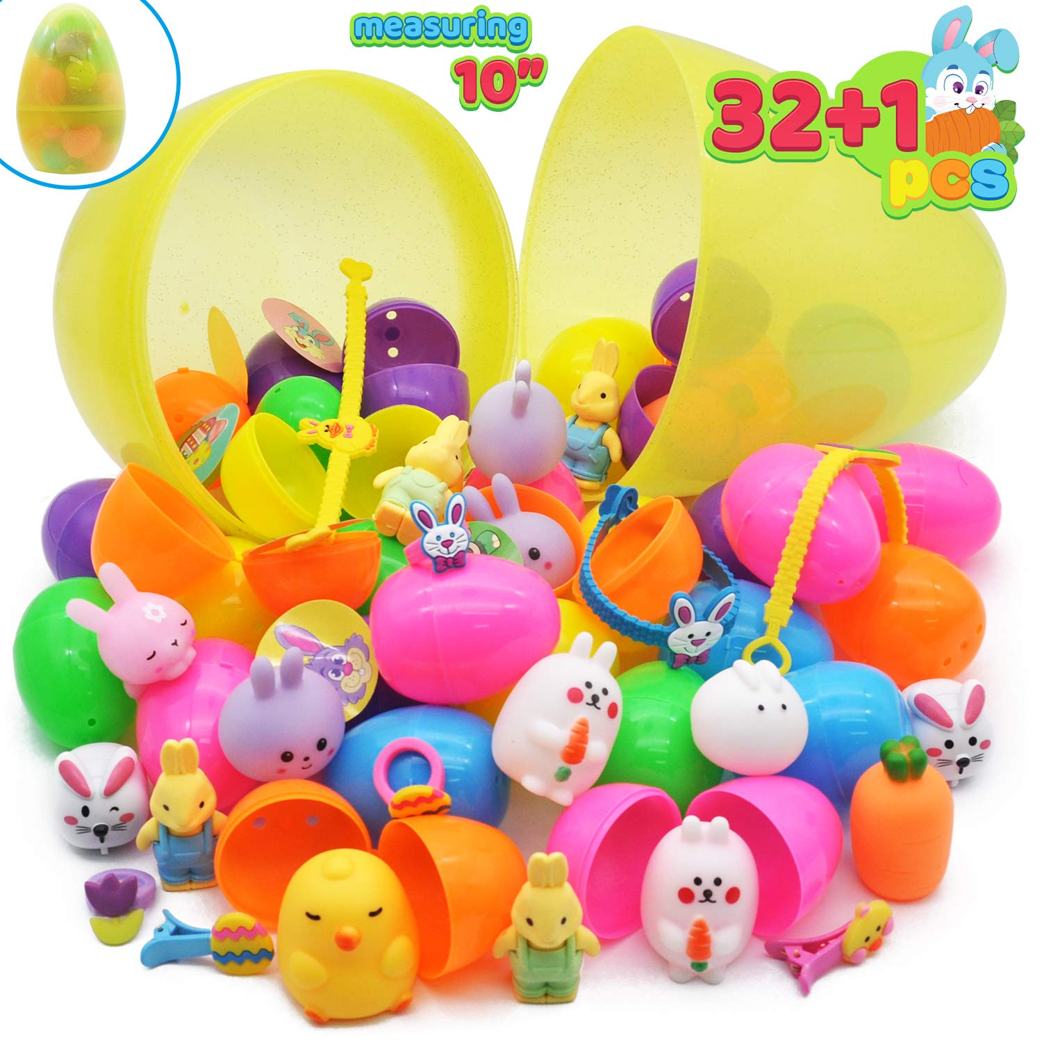 """32 Pcs Prefilled Easter Eggs plus one 10"""" Jumbo Plastic Glitter Surprise Egg with Toys for Kid, Learning Toys Education for Toddlers, Easter Egg Hunt, Easter Basket Stuffers, Party Favor Goodie"""