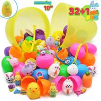 "32 Pcs Prefilled Easter Eggs plus one 10"" Jumbo Plastic Glitter Surprise Egg with Toys for Kid, Learning Toys Education for Toddlers, Easter Egg Hunt, Easter Basket Stuffers, Party Favor Goodie"
