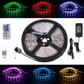 SUNWOW LED Light Strips 5050 SMD 16.4ft 5M 300leds RGB Color Changing Flexible Rope Lights with 44Key Remote +IR Control Box +12V 5A Power Supply (Waterproof)