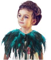 L'VOW Fashion Kids Feather Capes Stole Shawl Iridescent for Game Party Hallowmas