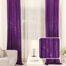 TRLYC Sequin Curtain for Wedding Backdrop Party Photography Background (Purple,2Ft Widthx8Ft High, 2 Pieces)