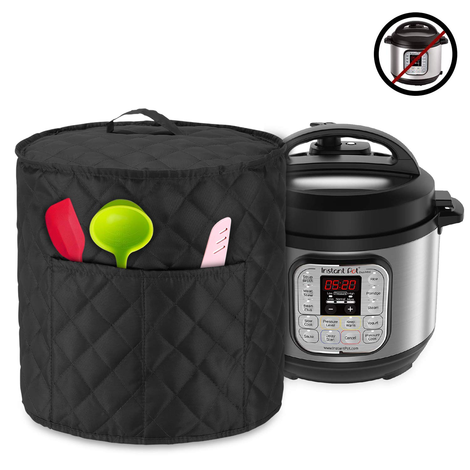 Luxja Dust Cover for 3 Quart Instant Pot, Cloth Cover with Pockets for Instant Pot (3 Quart) and Extra Accessories, Black Quilted Fabric (Small)